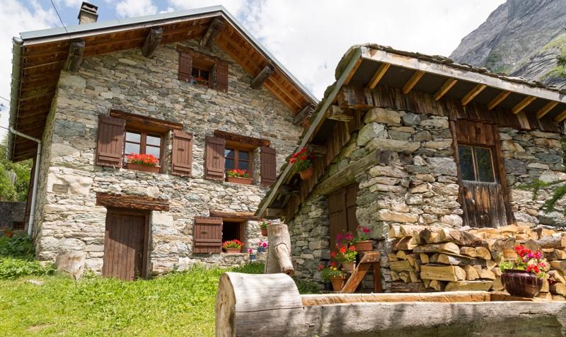 Modele de case din lemn si piatra