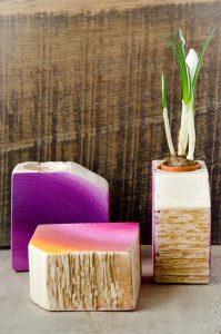 vaze ghiveci lemn pictat