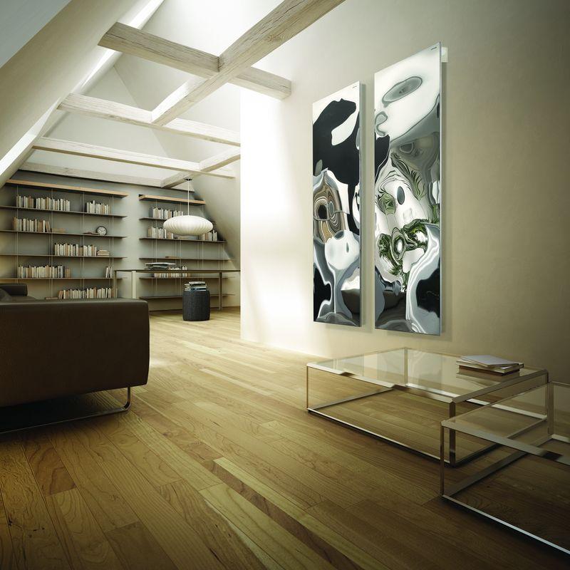 Un design spectaculos și dinamic este principala calitate a radiatorului decorativ Blow, creația designerului Jean-Marie Massaud pentru brandul Cordivari. Suprafața metalică tip oglindă redă distorsionat decorul din jur, cu refracții și efecte greu de imaginat, în schimbare în funcție de unghiul de privire. L 170 x l 50 cm. Disponibil prin Edil-Italy. Foto: Cordivari