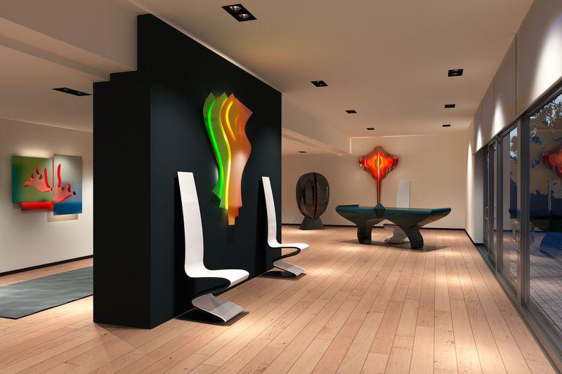 Câteva sculpturi murale cu impact vizual puternic, ce includ un sistem de încălzire tip radiator, sunt propuse de Studio Pierre Cardin. Funcțiile de încălzire pot fi controlate inclusiv de pe tabletă sau smartphone. În imagine, de la stânga la dreapta, sunt modelele Femme, Dédicace și Manta. Foto: www.pierrecardin-forme.com