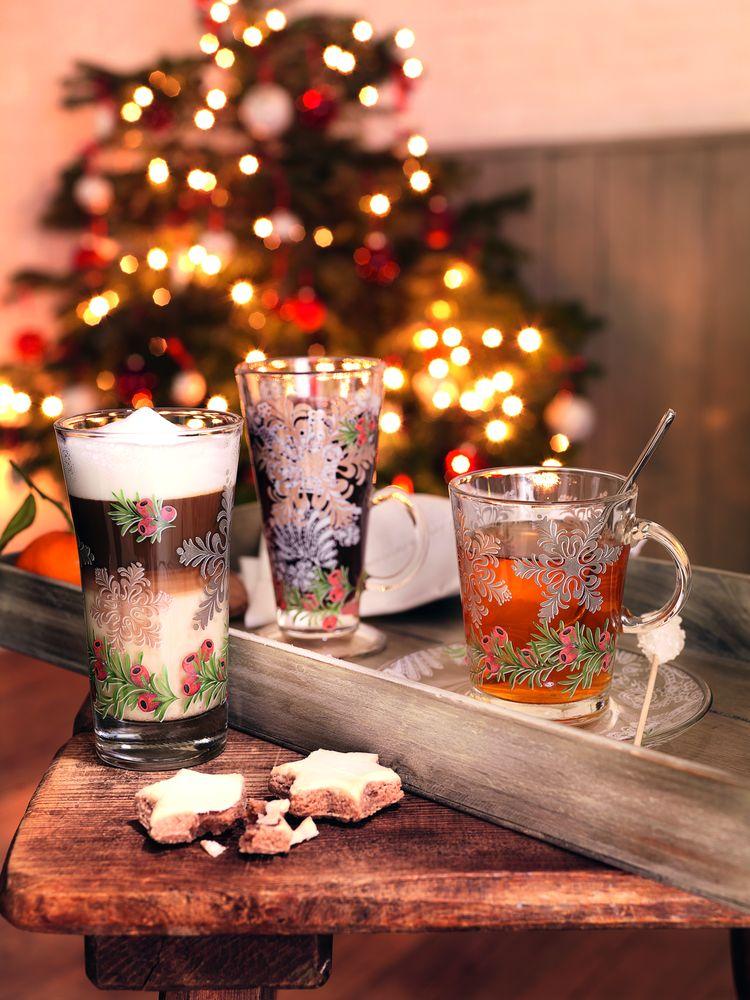 decorațiuni și aranjamente de Crăciun, pahare din cristal
