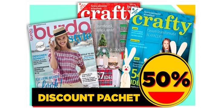 Profită de noile reduceri pentru pachetele Burda + Crafty!